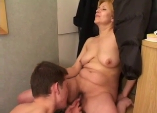 Son licks his mom's cunt with passion