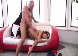 Skinny young hoe rides on her grandpa with love