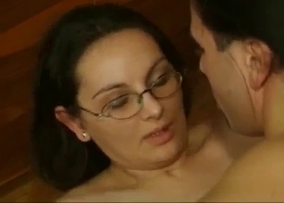 Dirty mom with hairy cunt fucks with two sons