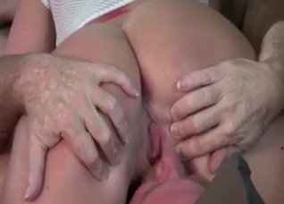 Daddy helps his slender daughter to cum quicker