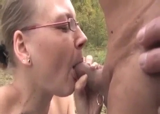 Small-boobed sister fucks with brother on the grass