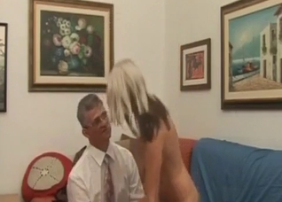 Dad gets pleasure by a big-boobed daughter